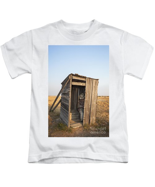 Mannequin Sitting In Old Wooden Outhouse Kids T-Shirt