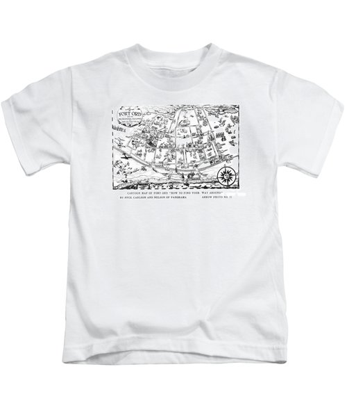 Map Of Fort Ord Army Base Monterey California Circa 1950 Kids T-Shirt