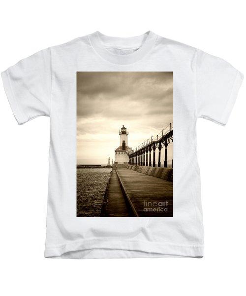 Michigan City Lighthouse Kids T-Shirt