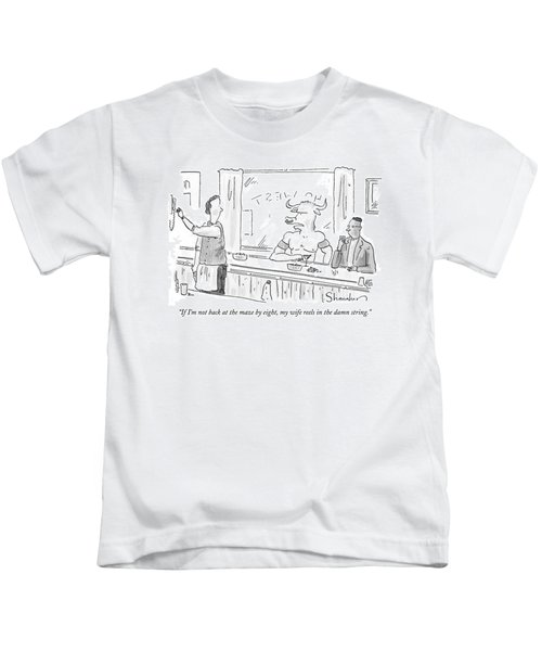 Minotaur At Bar Talking To Bartender Reaching Kids T-Shirt by Danny Shanahan