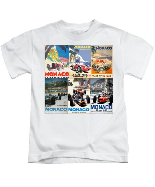 Monaco F1 Grand Prix Vintage Poster Collage Kids T-Shirt