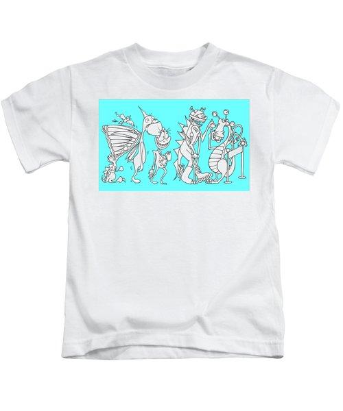 Monster Queue Blue Kids T-Shirt