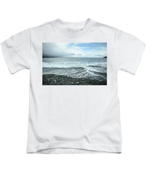 Moody Waves French Beach Kids T-Shirt