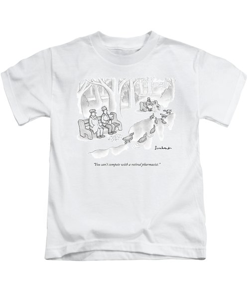 Multiple People Attempt To Feed Ducks Near A Pond Kids T-Shirt