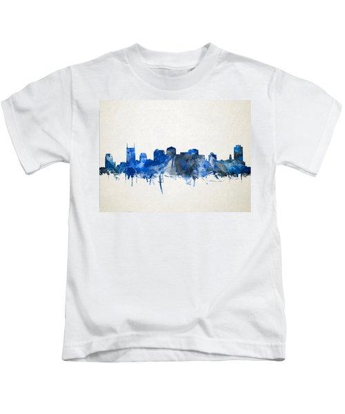 Nashville Skyline Watercolor 11 Kids T-Shirt by Bekim Art