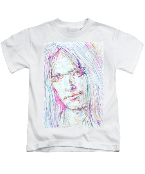 Neil Young - Colored Pens Portrait Kids T-Shirt by Fabrizio Cassetta