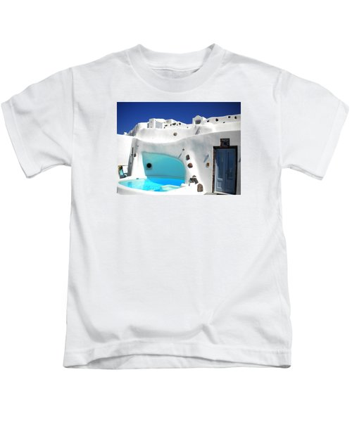 Kids T-Shirt featuring the photograph Oia Santorini  With Direct View To The Oceon Greece by Colette V Hera  Guggenheim