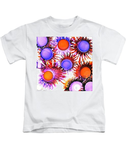 Orange And Purple Alcohol Inks Abstract Kids T-Shirt