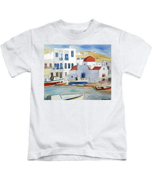 Watercolor - Mykonos Greece Detail Kids T-Shirt