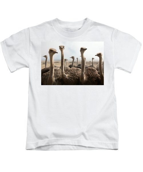 Ostrich Heads Kids T-Shirt by Johan Swanepoel