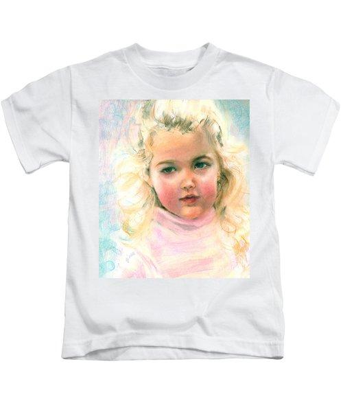 Pastel Portrait Of An Angelic Girl Kids T-Shirt