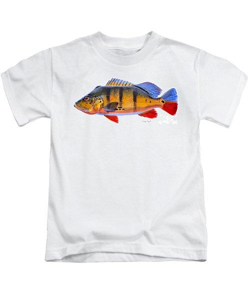 Peacock Bass Kids T-Shirt by Carey Chen