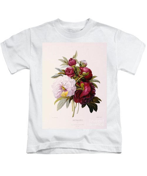 Peonies Engraved By Prevost Kids T-Shirt