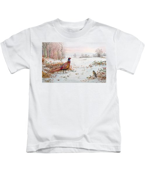 Pheasant And Bramblefinch In The Snow Kids T-Shirt by Carl Donner