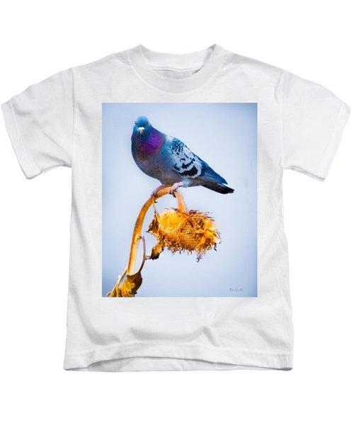 Pigeon On Sunflower Kids T-Shirt