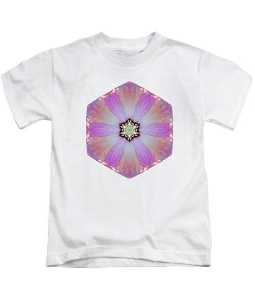 Pink And White Hibiscus Moscheutos I Flower Mandala White Kids T-Shirt