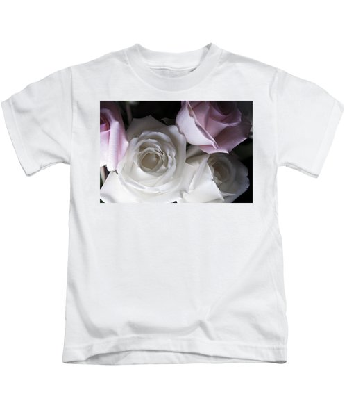 Pink And White Roses Kids T-Shirt
