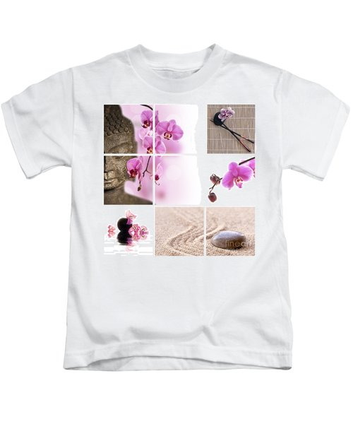 Pink Orchid And Buddha Collage Kids T-Shirt