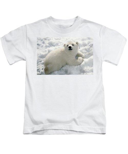 Polar Bear Cub Playing In Snow Alaska Kids T-Shirt