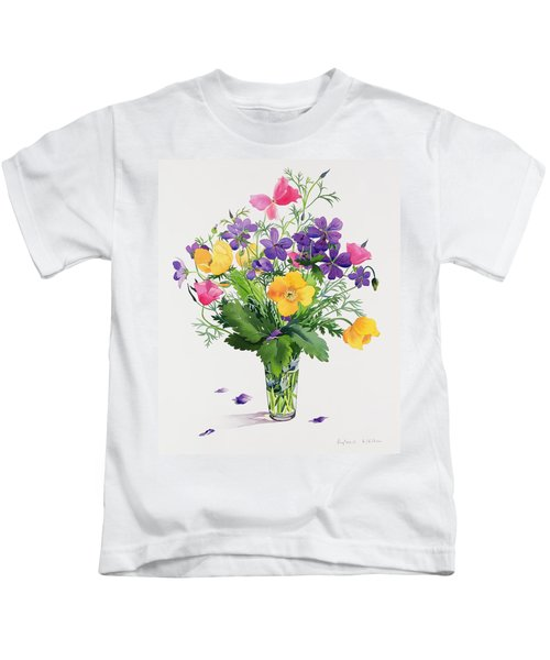 Poppies And Geraniums Kids T-Shirt