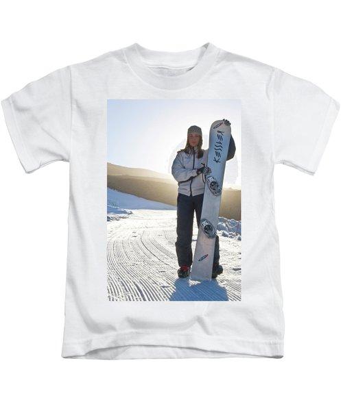 Portrait Of Irish American Snowboarder Kids T-Shirt