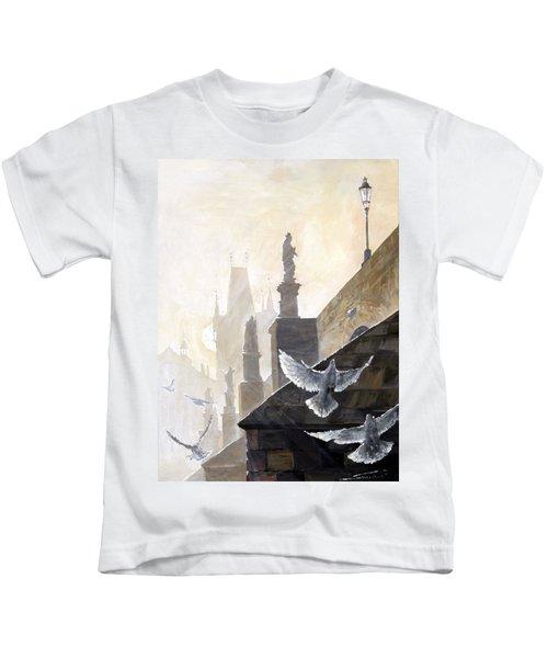 Prague Morning On The Charles Bridge  Kids T-Shirt
