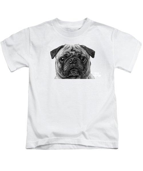 Pug Dog Black And White Kids T-Shirt