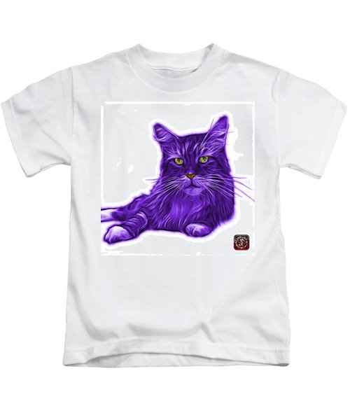 Purple Maine Coon Cat - 3926 - Wb Kids T-Shirt
