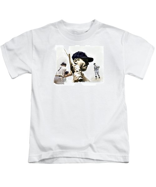 Quality Of Greatness Mickey Mantle Kids T-Shirt by Iconic Images Art Gallery David Pucciarelli