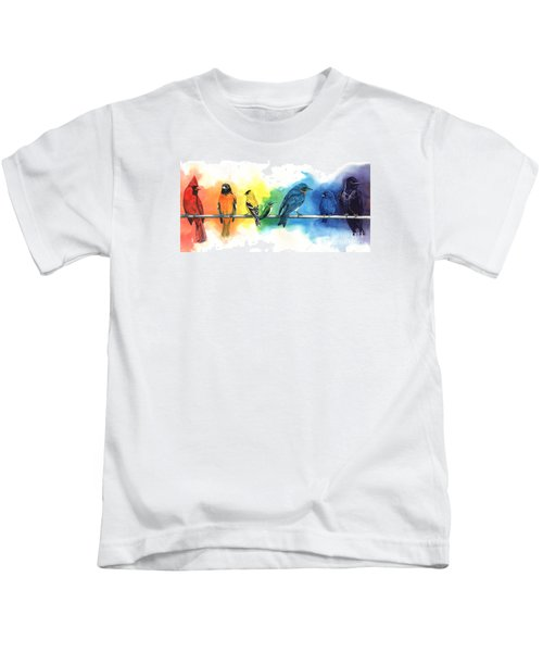 Rainbow Birds Kids T-Shirt by Antony Galbraith