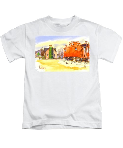 Red Caboose At Whistle Junction Ironton Missouri Kids T-Shirt