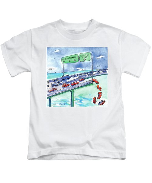 Red Cars Drop Off A Bridge Under A Sign That Says Kids T-Shirt