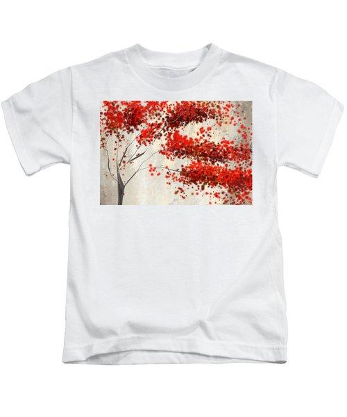 Red Divine- Autumn Impressionist Kids T-Shirt
