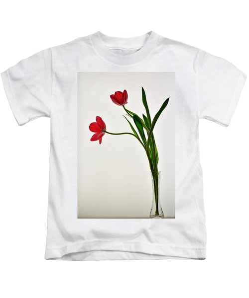 Red Flowers In Glass Vase Kids T-Shirt