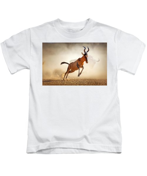 Red Hartebeest Running In Dust Kids T-Shirt