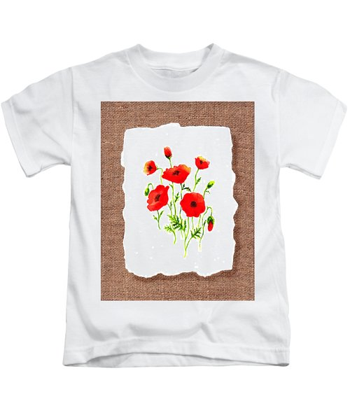 Red Poppies Decorative Collage Kids T-Shirt
