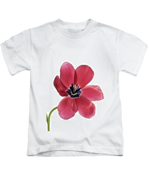 Red Transparent Tulip Kids T-Shirt
