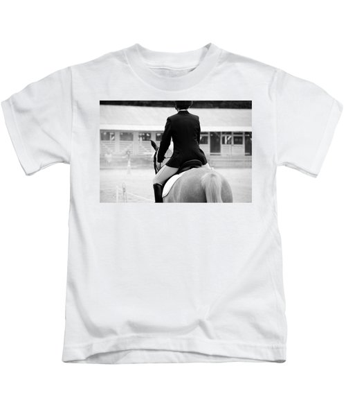 Rider In Black And White Kids T-Shirt