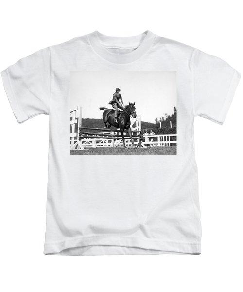 Rider Jumps At Horse Show Kids T-Shirt