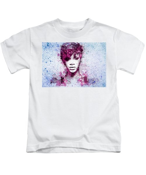 Rihanna 8 Kids T-Shirt by Bekim Art