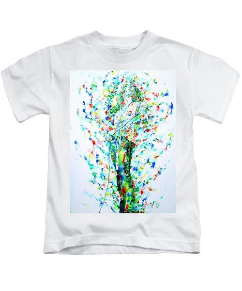 Robert Plant Singing - Watercolor Portrait Kids T-Shirt by Fabrizio Cassetta
