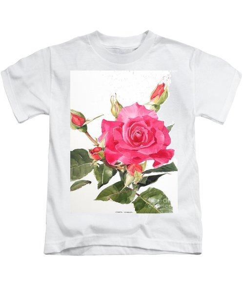 Watercolor Red Rose Margaret Kids T-Shirt