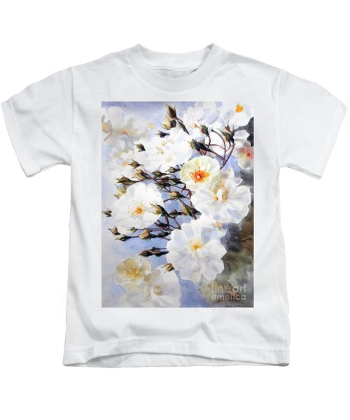 Wartercolor Of White Roses On A Branch I Call Rose Tchaikovsky Kids T-Shirt