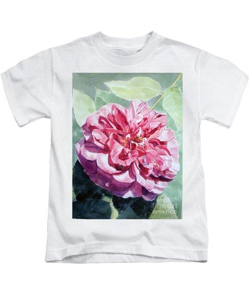 Watercolor Of A Pink Rose In Full Bloom Dedicated To Van Gogh Kids T-Shirt