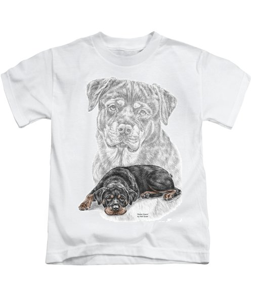 Rottie Charm - Rottweiler Dog Print With Color Kids T-Shirt