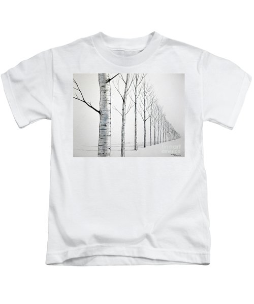 Row Of Birch Trees In The Snow Kids T-Shirt