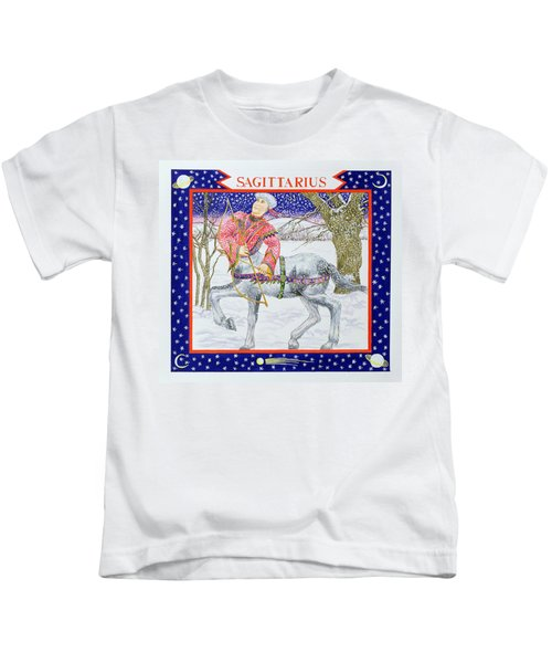 Sagittarius Wc On Paper Kids T-Shirt by Catherine Bradbury