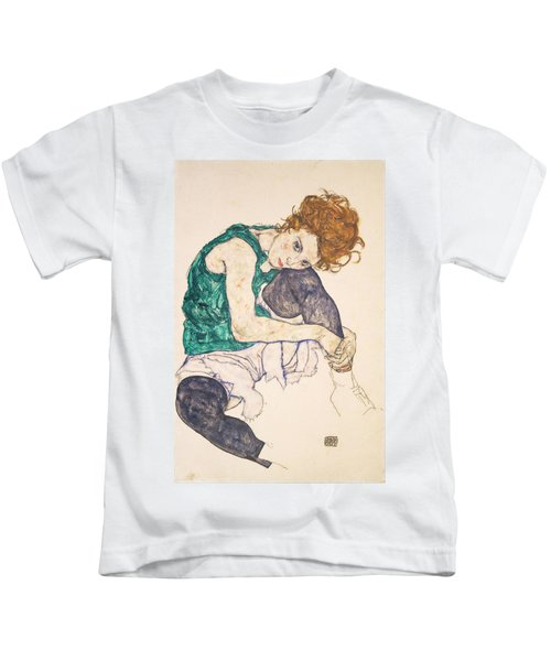Seated Woman With Legs Drawn Up. Adele Herms Kids T-Shirt