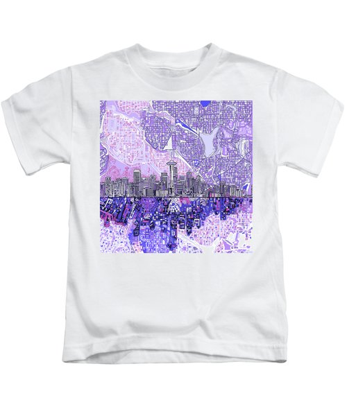 Seattle Skyline Abstract 3 Kids T-Shirt