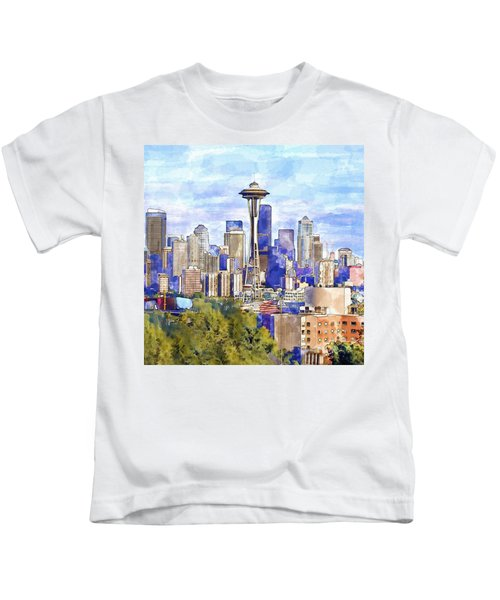 Seattle View In Watercolor Kids T-Shirt